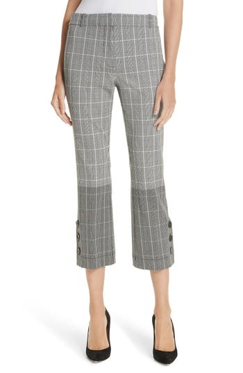 Derek Lam 10 Crosby Mixed Plaid Crop Flare Pants, Grey