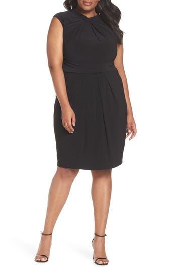 Plus Size Adrianna Papell Matte Jersey Sheath Dress, Black