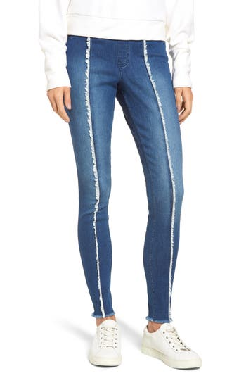 Zeza B By Hue High Waist Frayed Denim Leggings, Blue