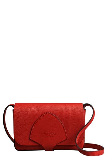 Burberry Hampshire Leather Crossbody Bag - Red