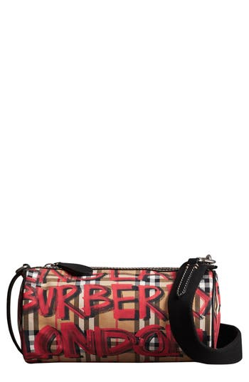 Burberry Small Kennedy Graffiti Print Canvas Shoulder/crossbody Bag - Black