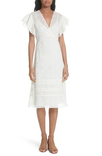 Vintage Inspired Wedding Dress | Vintage Style Wedding Dresses Womens Tory Burch Susanna Flutter Sleeve Midi Dress Size 6 - White $598.00 AT vintagedancer.com