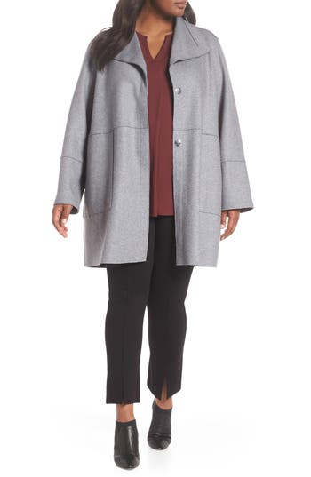 Plus Size Kenneth Cole New York Envelope Collar Wool Knit Coat, Grey