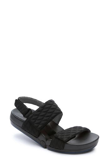 Figs By Figueroa Figulous Diamond Embossed Sandal Black