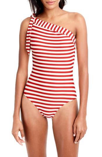 J.crew One-Shoulder Stripe One-Piece Swimsuit