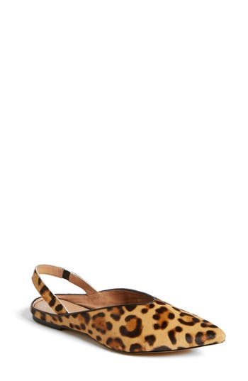 Halogen Sadie Genuine Calf Hair Slingback Flat, Brown