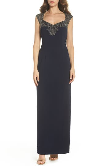 Adrianna Papell Beaded Bodice Column Gown, Blue
