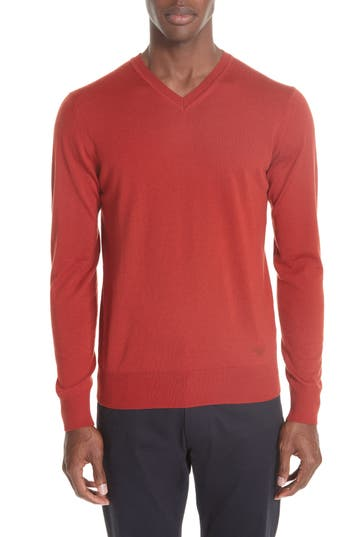 Emporio Armani V-Neck Wool Sweater, 0 US / 5 R - Red