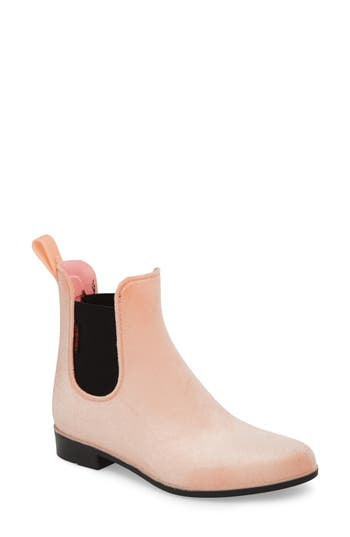Chooka Waterproof Velvet Chelsea Rain Boot, Pink