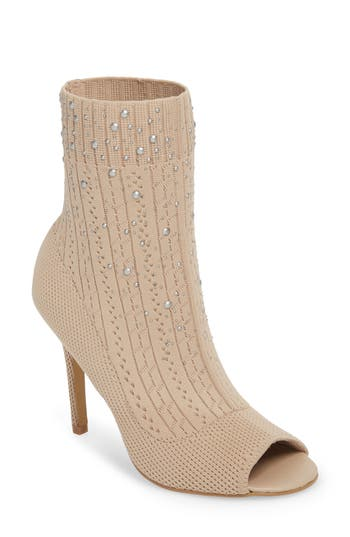 Charles By Charles David Peep Toe Sock Bootie, Beige