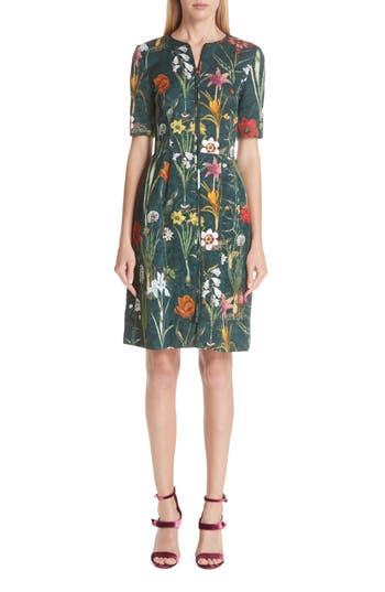 Oscar De La Renta Floral Harvest Cloque Dress, Green