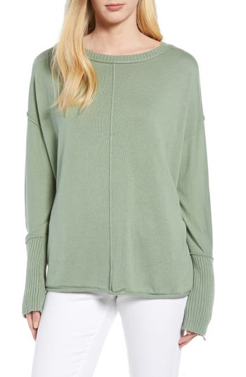 Caslon Zip Cuff Sweater, Green