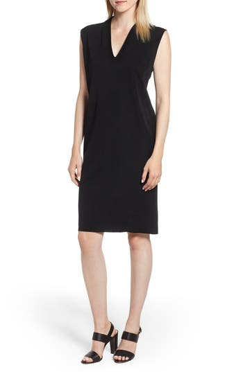 Ming Wang Knit Shift Dress, Black