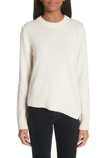 Proenza Schouler Asymmetrical Zip Detail Wool, Silk & Cashmere Sweater, Ivory