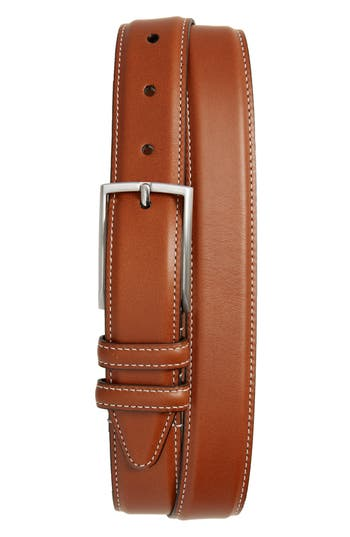 Big & Tall Nordstrom Shop Carter Leather Dress Belt, Cognac