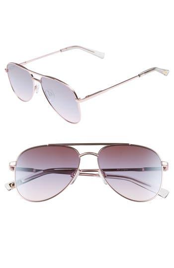 Le Specs Kingdom 57Mm Aviator Sunglasses - Rose Gold