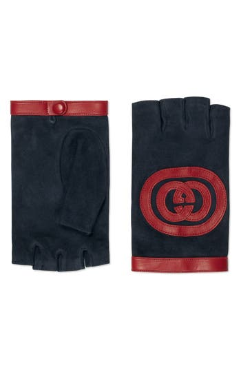 Gucci Logo Suede Fingerless Gloves