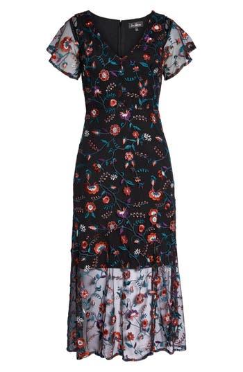 Sam Edelman Pansy Embroidered Mesh Midi Dress, Black