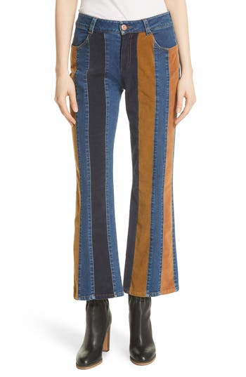 60s – 70s Pants, Jeans, Hippie, Bell Bottoms, Jumpsuits Womens See By Chloe Paneled Crop Flare Jeans $292.50 AT vintagedancer.com