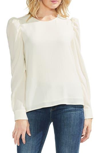 Edwardian Blouses | White & Black Lace Blouses & Sweaters Womens Vince Camuto Puff Shoulder Crepe Blouse Size X-Large - White $79.00 AT vintagedancer.com