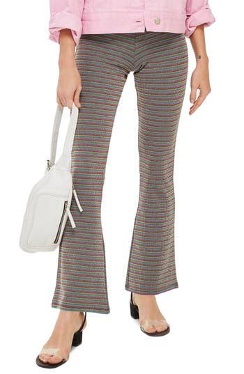 Topshop Petite Lurex Stripe Flare Pants
