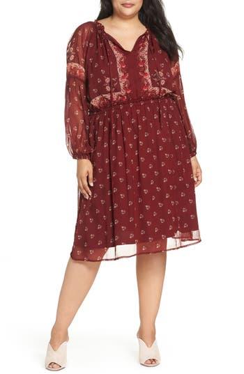 Border Print Dress, Red Multi