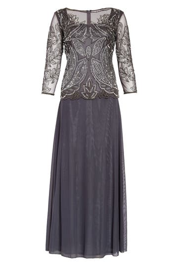 Vintage Evening Dresses and Formal Evening Gowns Womens Pisarro Nights Embellished Mesh Gown Size 4 - Grey $208.00 AT vintagedancer.com