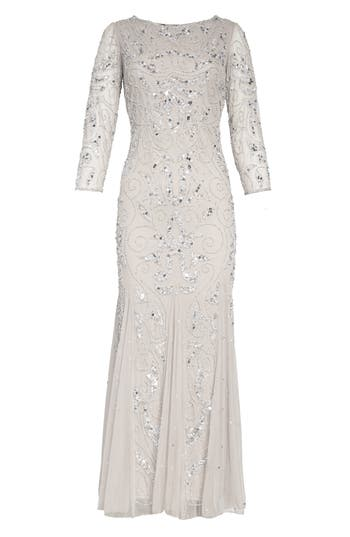 1930s Evening Dresses | Old Hollywood Dress Pisarro Nights Embellished Mesh Gown Size 6 - Metallic $218.00 AT vintagedancer.com