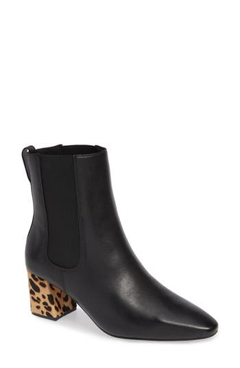 Matisse Off Duty Genuine Calf Hair Chelsea Bootie, Black