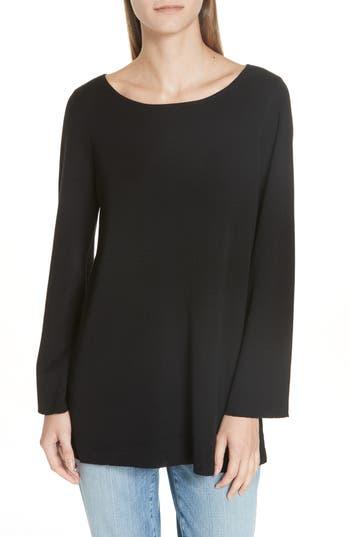 Eileen Fisher Bateau Neck Merino Wool Tunic Top, Black