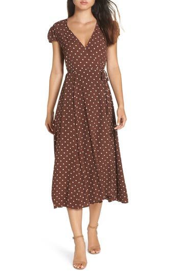 Polka Dot Dresses: 20s, 30s, 40s, 50s, 60s Womens Bardot Polka Dot Wrap Dress Size Medium - Brown $119.00 AT vintagedancer.com