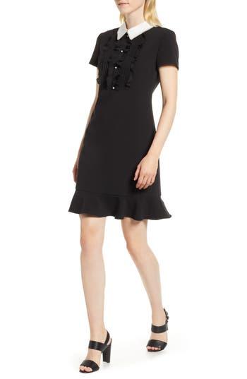 1960s Dresses | 60s Dresses Mod, Mini, Jakie O, Hippie Womens Karl Lagerfeld Paris Ruffle Bib Fit  Flare Dress $149.50 AT vintagedancer.com