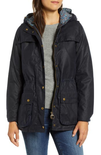 Barbour X Liberty Blaise Hooded Waxed Jacket, US / 8 UK - Blue