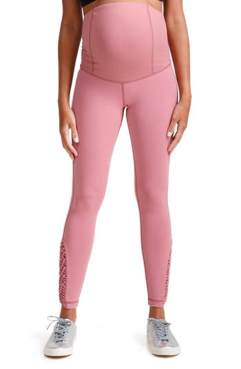 Ingrid & Isabel Active Maternity Leggings With Macrame Detail, Pink