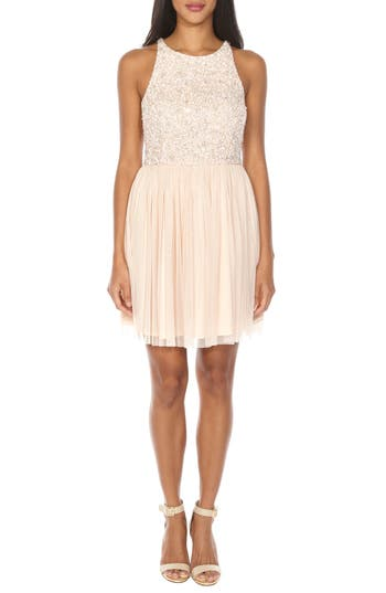 Lace & Beads Picasso Sequin Cocktail Dress, Beige