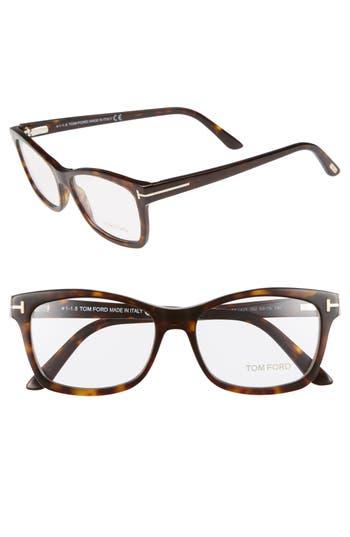 Tom Ford 53Mm Optical Glasses - Shiny Classic Dark Havana, Brown/Red