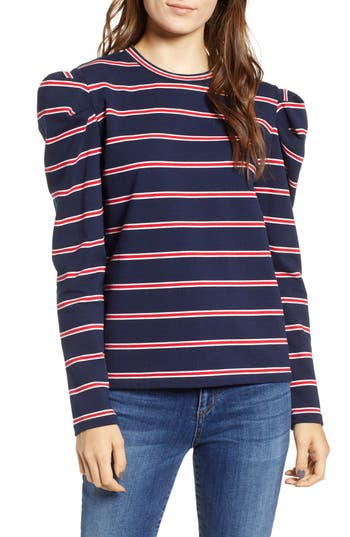 The Fifth Label KINETIC STRIPE PUFF SLEEVE TOP