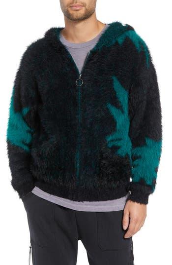 DRIFTER Xanadu Zip Fleece Hoodie in Black/ Green