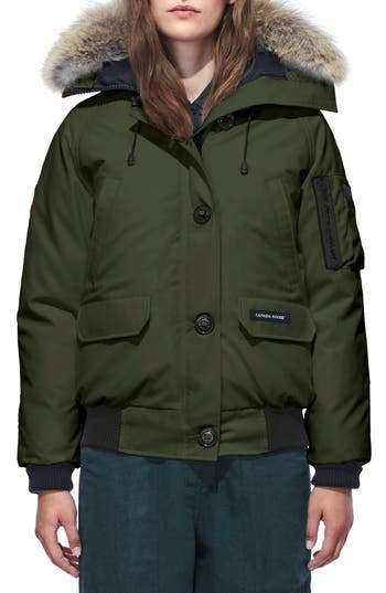 Canada Goose Chilliwack Hooded Down Bomber Jacket With Genuine Coyote Fur Trim, (0) - Green