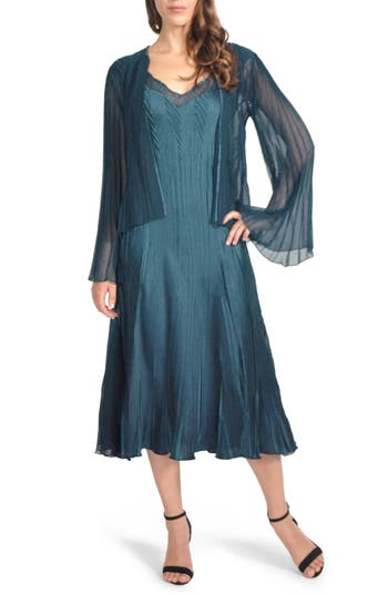 Komarov Charmeuse Midi Dress With Jacket, Blue/green