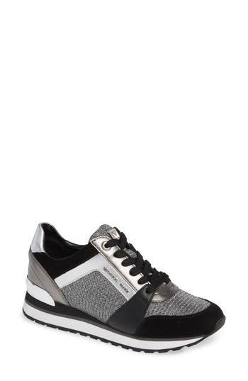 Billie Perforated Sneaker, Black/ Silver