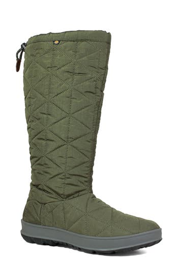 Bogs Snowday Tall Waterproof Quilted Snow Boot, Green