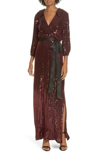 Alice + Olivia Bayley Sequin Maxi Shirtdress, Burgundy