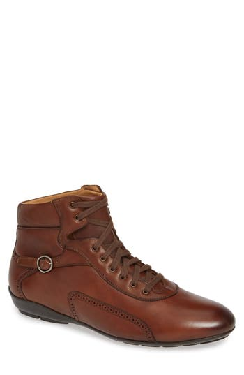 Pasquale High Top Sneaker, Cognac Leather
