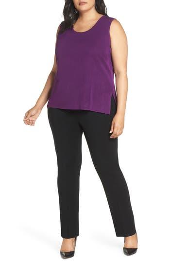 Plus Size Ming Wang Scoop Neck Knit Tank, Purple