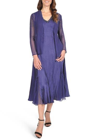 Komarov Embellished Midi Dress With Jacket, Blue