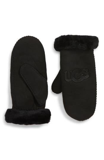 Ugg Logo Genuine Shearling Mittens, Black