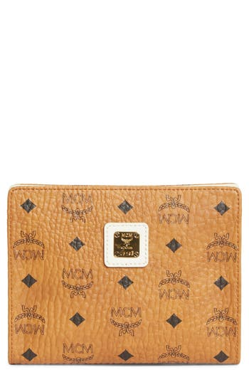 Small Visetos Zip Pouch - Brown, Cognac/ Off White