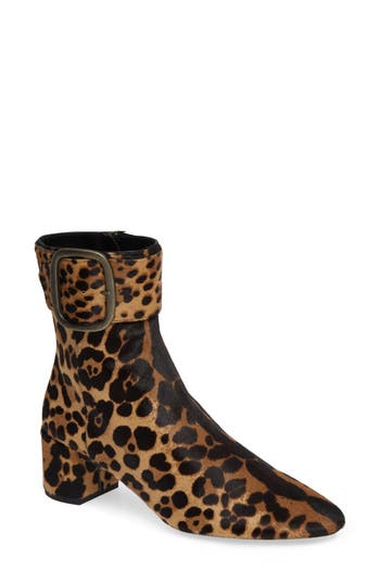 Saint Laurent Leopard Genuine Calf Hair Buckle Bootie - Brown