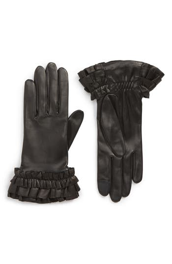 Agnelle Frill Cuff Lambskin Leather Gloves - Black
